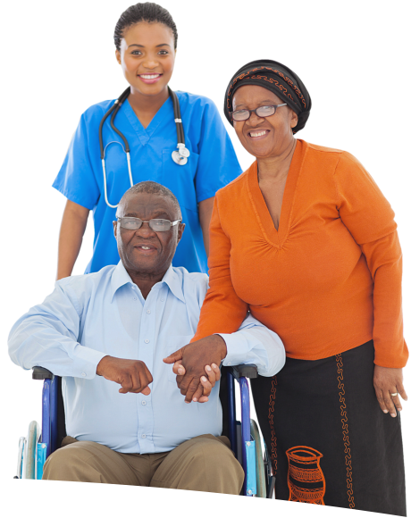 female nurse with senior couple smiling