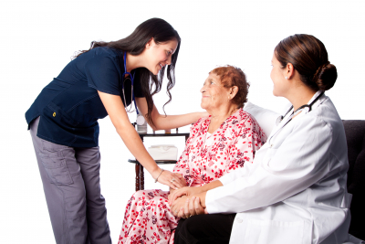 nurses consulting senior patient